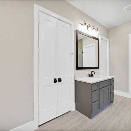 Double doors and more cabinetry in the master suite