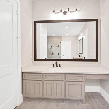 Abundant cabinet and counter space in master bath