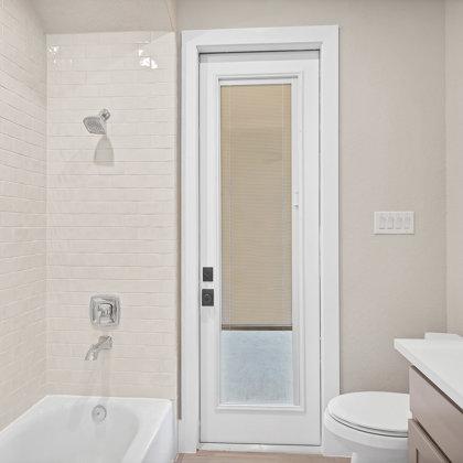 Optional exterior door at rear guest bath