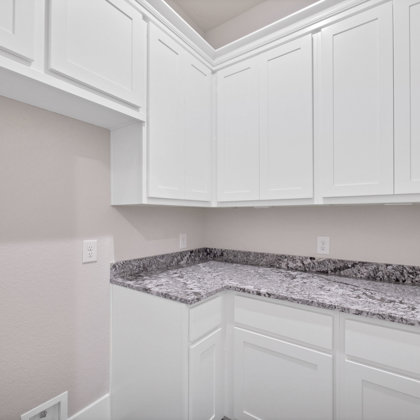 Walk-in pantry at owner's entry provides plenty of room for storage and prep
